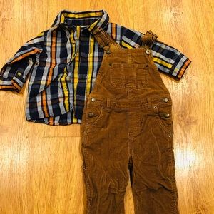 2Piece Baby boy Plaid Shirt & Overalls (18 months)